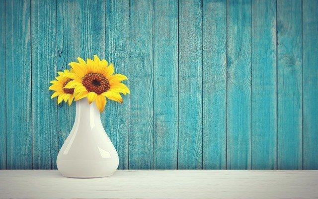 váza, slunečnice, květina